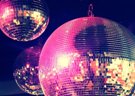 Purple and Pink Disco Balls, 5x7 Photo Print, Matted to 8x10