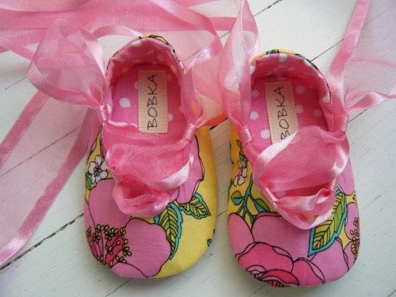 Mod розового и желтого Цветочные Чистка балета для вашего ребенка девушка