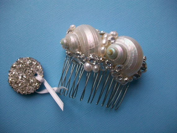 Pearlized Sea Shell Bridal Hair Comb With Swarovski Crystals And Freshwater Pearls