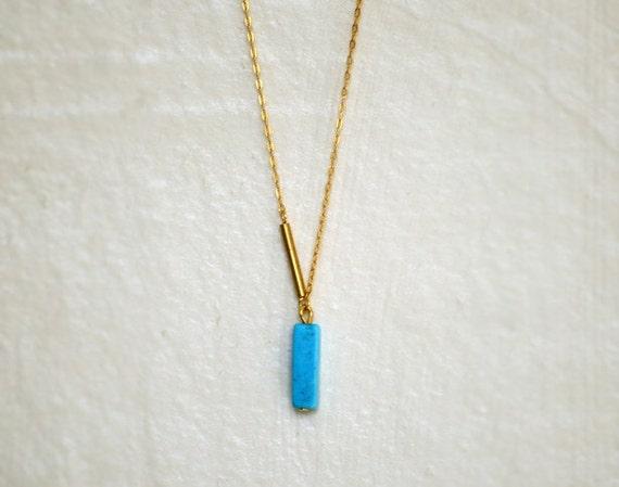 Ultramarine - turquoise bar pendant necklace on gold fill chain - sleek modern jewelry - edor
