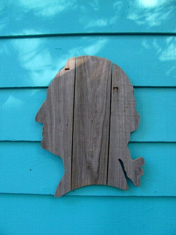 George Washington made of recycled fence wood,