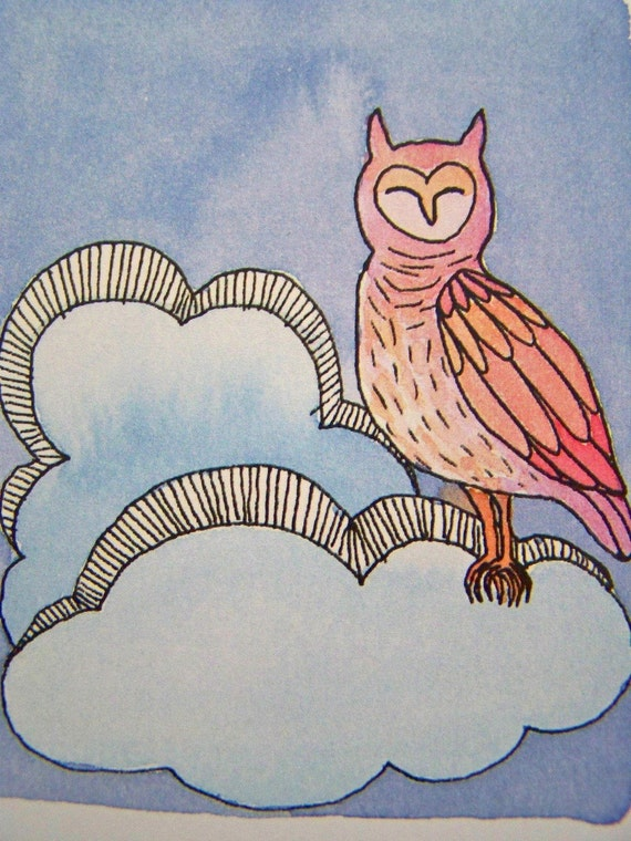 Owl in the Clouds- 4x5 Print of Original Watercolor