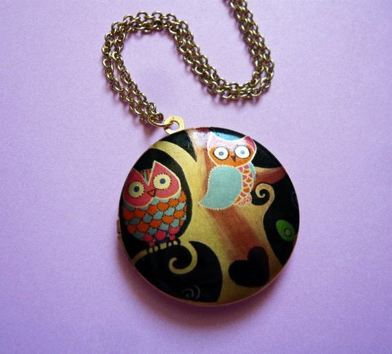 Midnight Owls in a Tree Locket by MaruMaru on Etsy