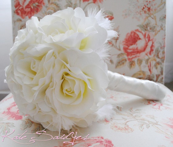 Wedding Bouquet Ivory Rose Silk Bridal Bouquet with Feather Accents