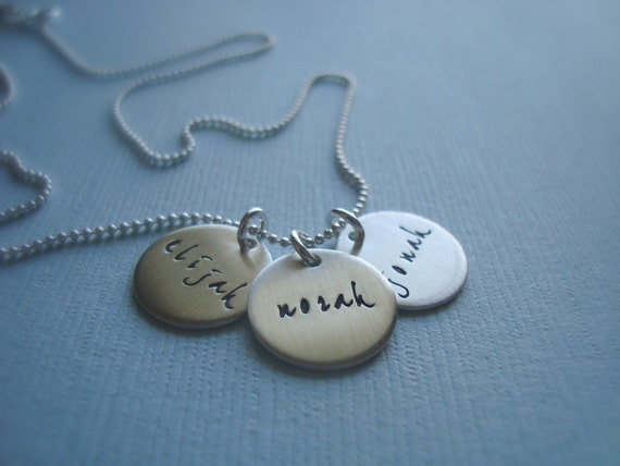 THREE Half-Inch Sterling Silver Hand Stamped Discs- Personalized Necklace