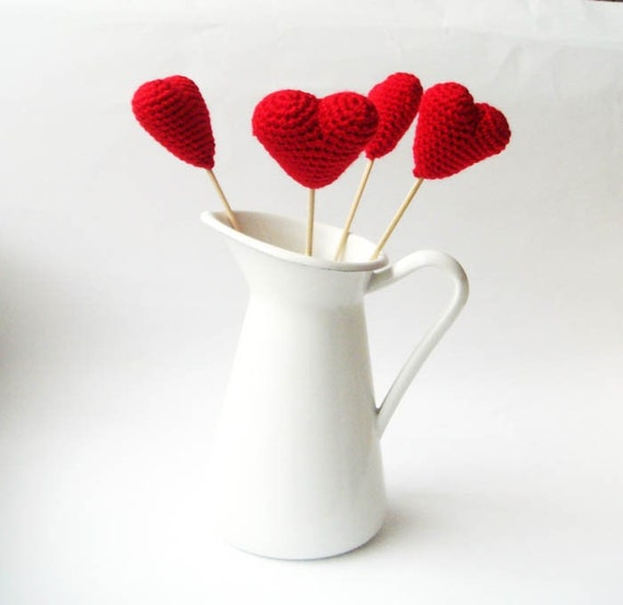 Crocheted Red hearts (set of 4)
