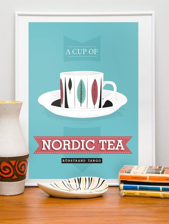 Kitchen print  Tea poster - Nordic Tea - retro rorstrand scandinavian art blue A3