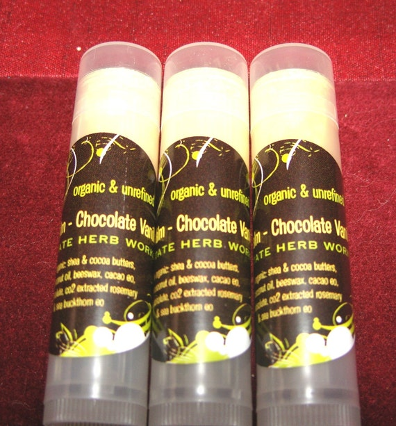 Chocolate Vanilla Chap-Stick, Real Cacao Essential Oil, Organic Cocoa Butter, Local Beeswax, Paraben & Petroleum Free, Sale