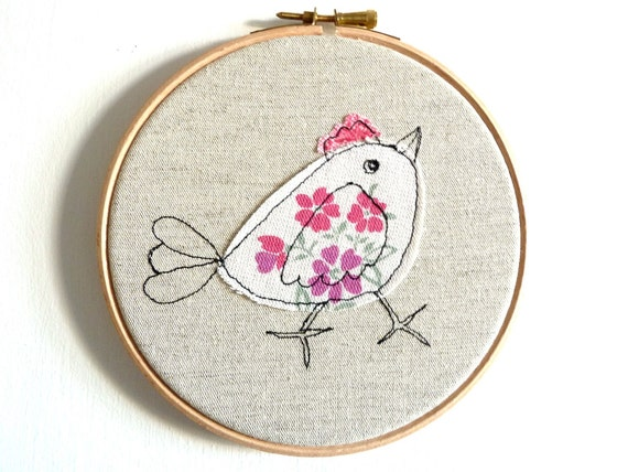 "Embroidery Hoop Art - 'Chirpy chick' in pink & white - 6"" hoop"