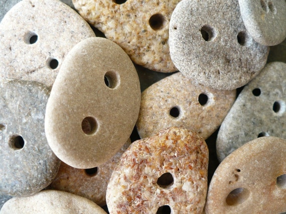10 BEACH STONE BUTTONS...10 sweet hand drilled beach stones