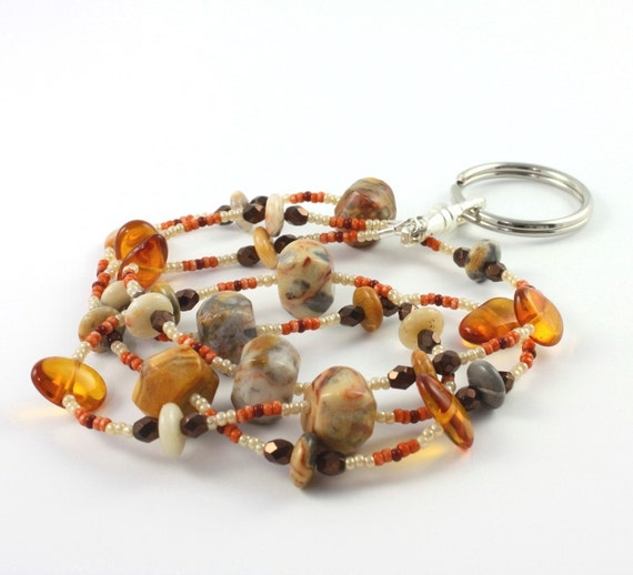 ID Badge Lanyard Amber Cream Bronze Agate Gemstone