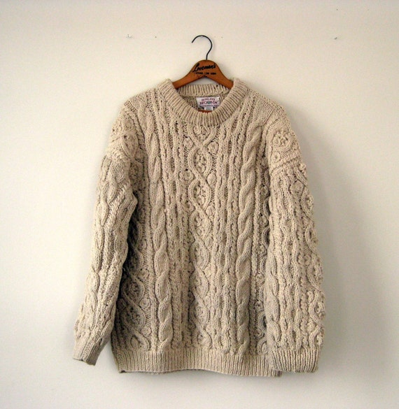 Vintage Hand Knitted Extra Large Wool Sweater in Creme