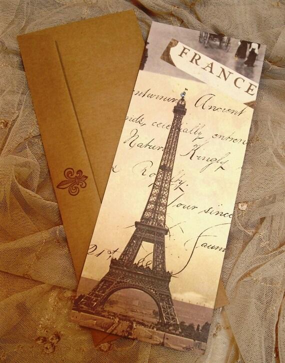 Набор из 4 Франция / Эйфелева башня Плоский Notecards / Крафт конверты / Штампованные Флер де Лис