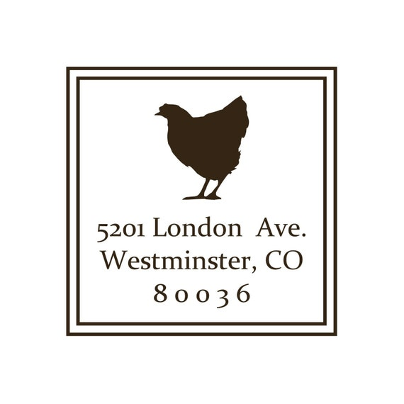 Chicken Address Stamp, Custom Made Rubber Stamps- 5201