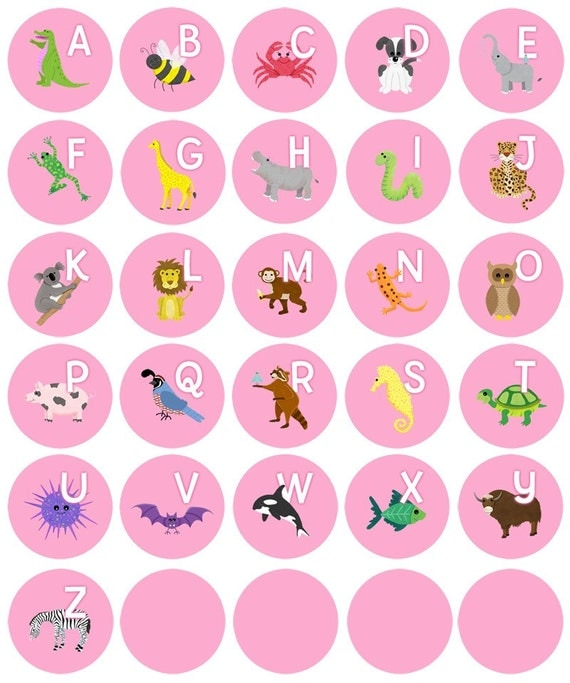 Alphabet Animal Magnets - Pink