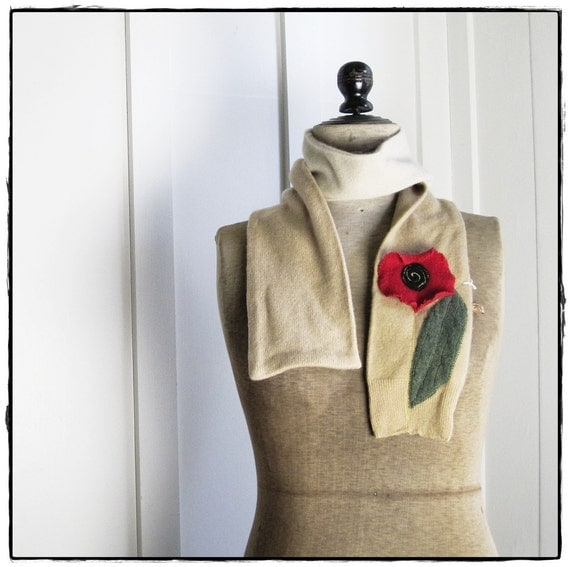 reclaimed CASHMERE scarf with Poppy Applique - camel