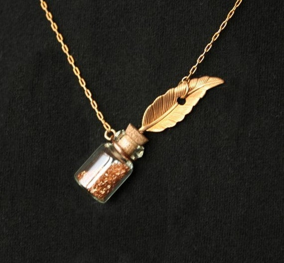 Feather Quill Ink Well Pendant Vintage Style