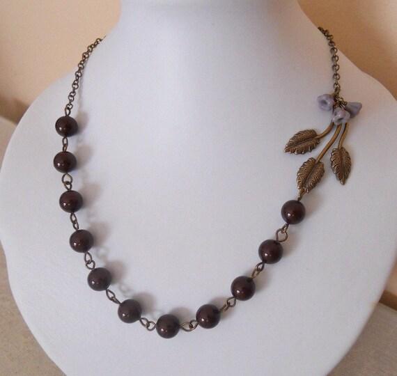 Free Shipping - Splendoar Necklace - burgundy pearls