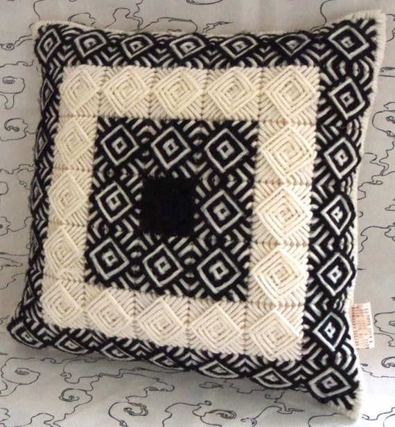 Needlepoint Handade Pillow Cover with Black and Creme / Ecru Squares in Classic Ancient Greek Key Pattern / Shop Early for Christmas