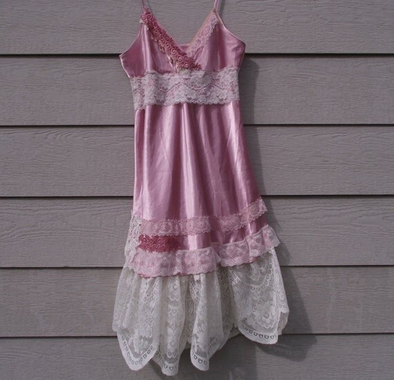 Slip dress..pink satin..cream lace..bridal.prom
