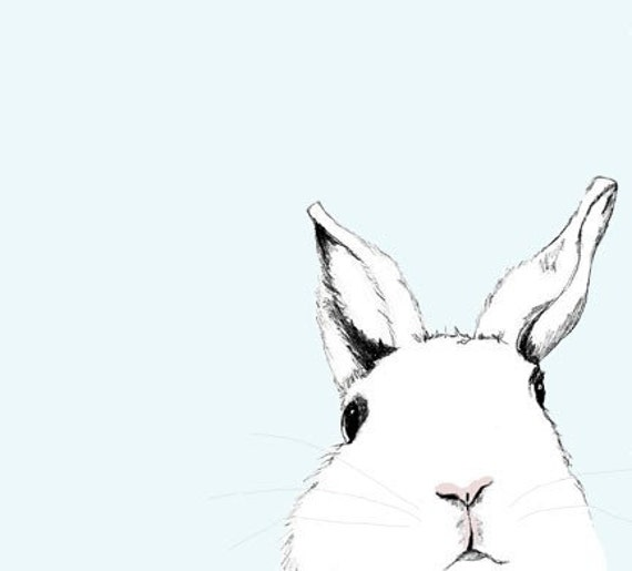 Free Shipping - White Rabbit Art Print - Where's Alice