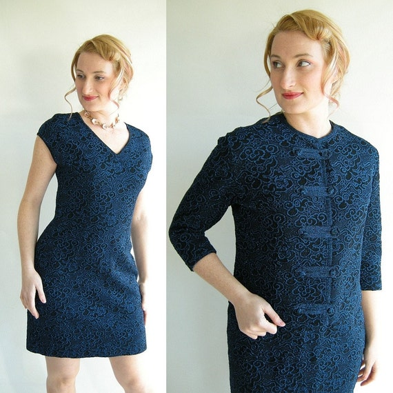 Metallic Blue Vintage 60s Mini Sheath Dress Cropped by empressjade from etsy.com