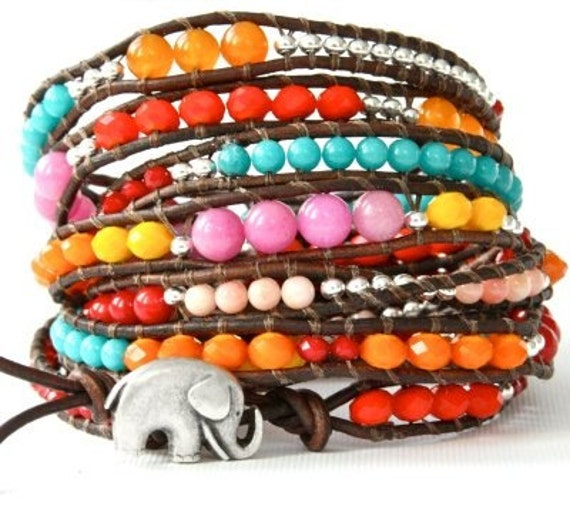 The Mega Wrap... Rainbow Sundance GOOD LUCK ELEPHANT  Leather Wrap Bracelet - 4.5 feet long