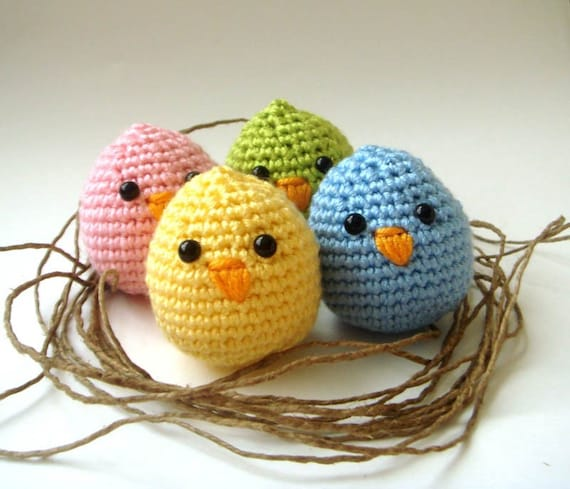 crochet plush baby chicks(Set of 4) Christmas Hostess Gift. Stocking  stuffer