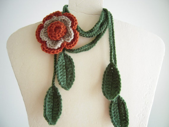 Pumpkin, Beige Flower  Lariat  Necklace, Scarf, Scarflette