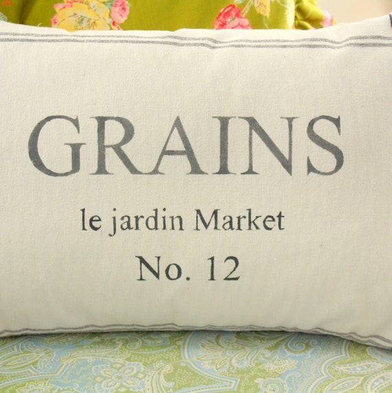 Stenciled French Feed Sack pillow