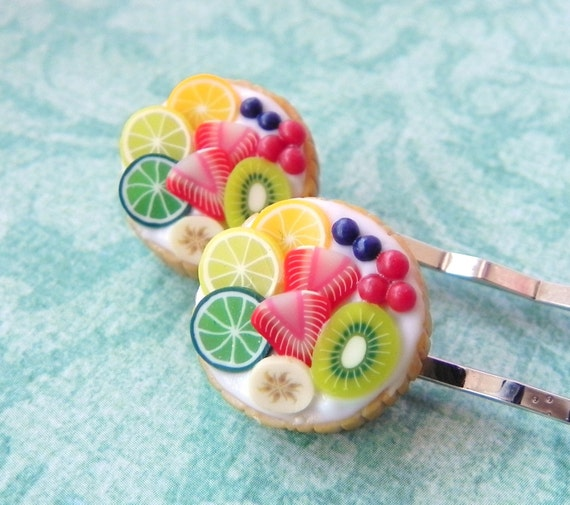 Fruit tart bobby pins