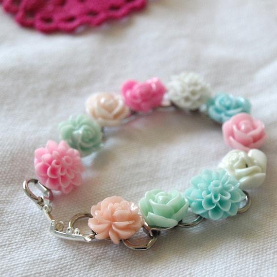 Pastel Floral Bracelet Victorian Aristocratic Spring Fashion