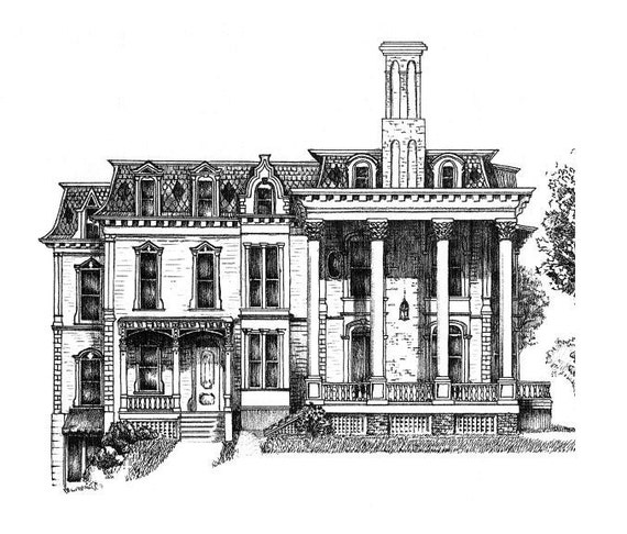 Саратога-Спрингс, Площадь Франклина рисунок тушью плакат