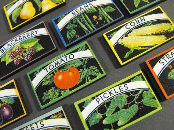 Wood Canning Labels - Vintage Fruits and Vegetables