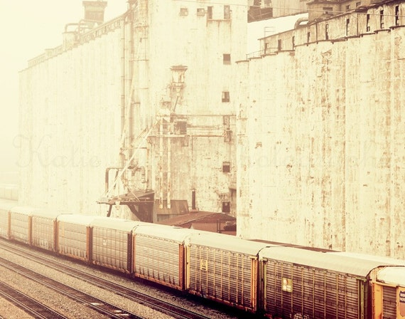 Trains and Industry - 11x14 Fine Art Photography Print - vintage retro style industrial home decor photo of trains on the track
