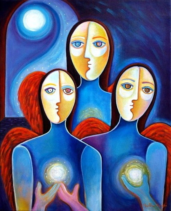 Angels Of Peace Original Acrylic Painting Marlina Vera 24x30