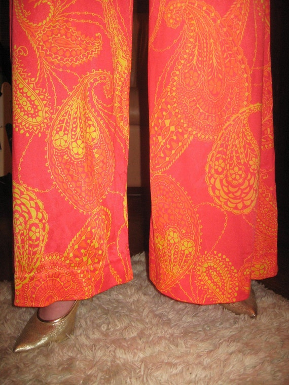 Vintage late 1960s early 1970s two piece Wide Bottom Paisely Pants set COOL and GROOVEY