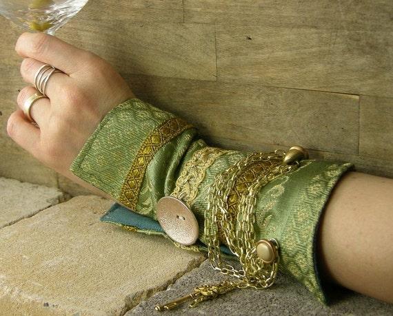 манжету аква зеленым золотом парчи шартрез многократно использовать кнопки цепи латуни и отмычка викторианской романтической стимпанк tbteam therougett