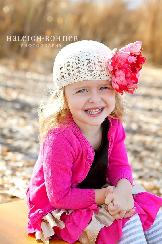 Crochet Beanie Hat-Ivory-Hot Pink Peony Flower-Infant Hat-Toddler Hat-Girls-Adults-Photography Props
