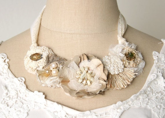 Bridal Statement Bib Necklace, Flowers, Ivory White, Taupe, and Beige
