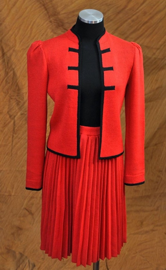 Vintage 70s Red St. John Pleated Asian Inspired Suit SM