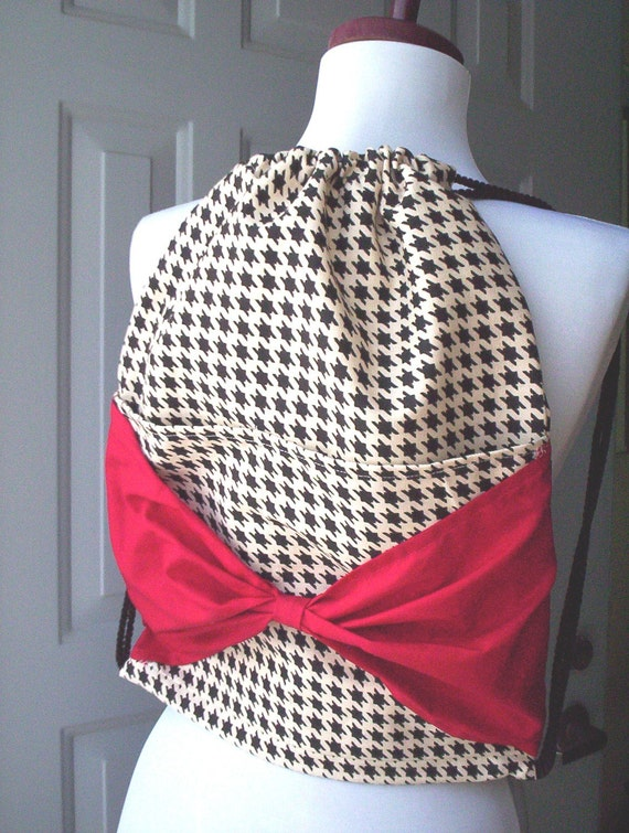 Houndstooth Backpack with Red Bow and Drawstring Closure