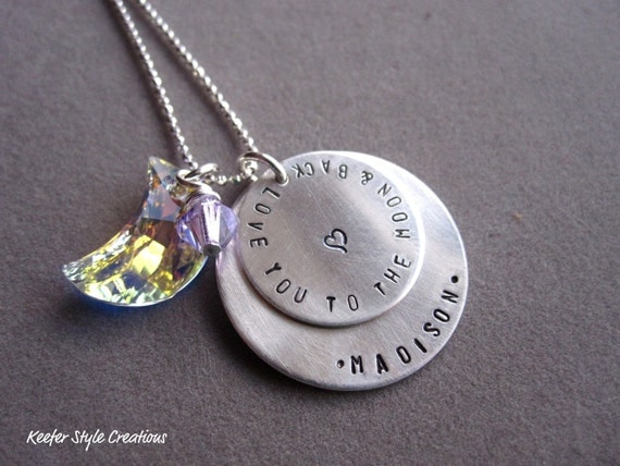 Hand Stamped I love you to the moon and back double disk necklace