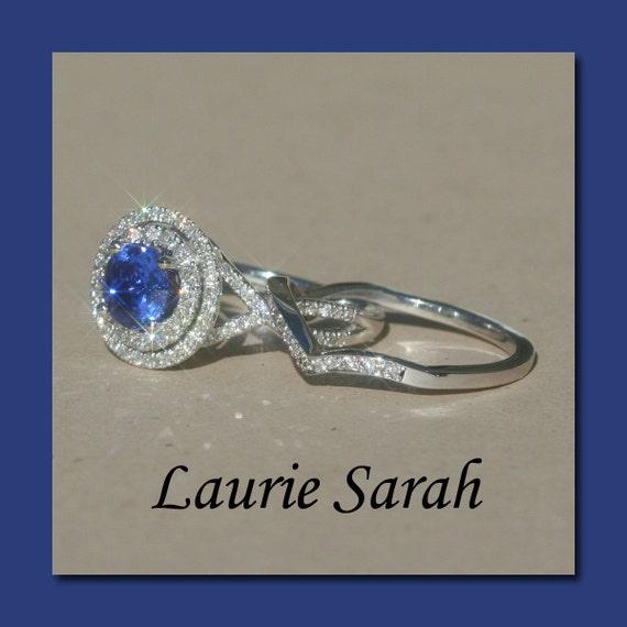 Double Halo Sapphire and Diamond Wedding Set - Custom Order for Ninaprepp - 10th Payment