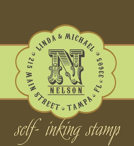Vintage Antique Self - inking CUSTOM TEXT personalized monogram return address stamp - great wedding gift - MS5311B