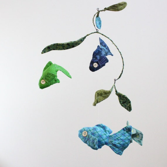Fabric Fish Mobile - 4 goldfish swim along merrily - in navy blue, grass green, aqua, and teal