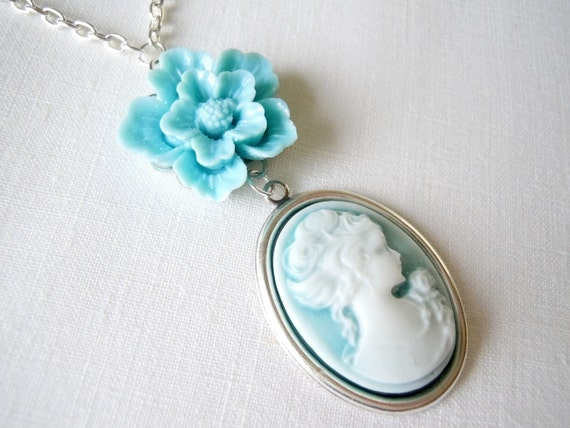 Cameo Necklace - Silver Jewelry, Ice Blue Flower, White and Blue Cameo, Silver Plated