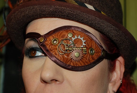 Darkwear Clothing - Brown Vinyl Steampunk Eyepatch Costume Piece