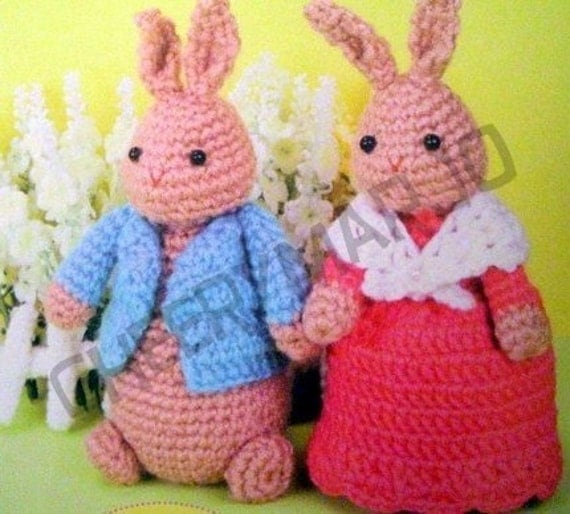 Crochet doll amigurumi PDF pattern - Peter Rabbit Couple