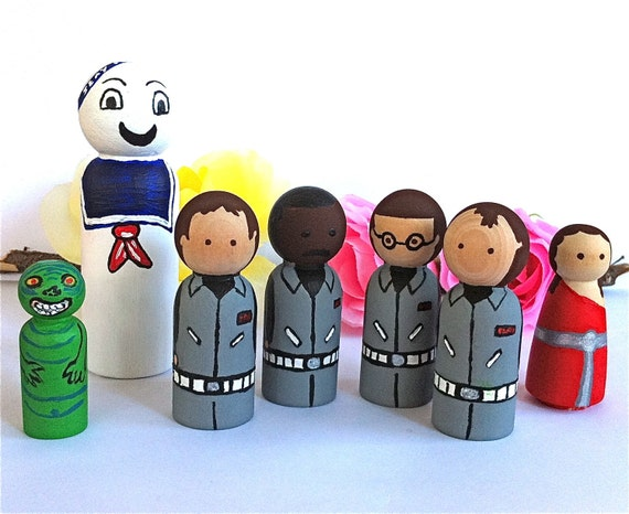 Ghostbusters Wood Peg Dolls Toy Set of 7 READY TO SHIP Bill Murray Peter Venkman Slimer Stay Puft  Marshmallow Man Sigourney Weaver 1984